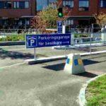 Skylt som hänvisar till det nya parkeringshuset som finns vid centralsjukhuset Karlstad